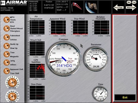 Airmar Weather Station screen