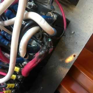 Red hot studs and melted wires, could have been worse