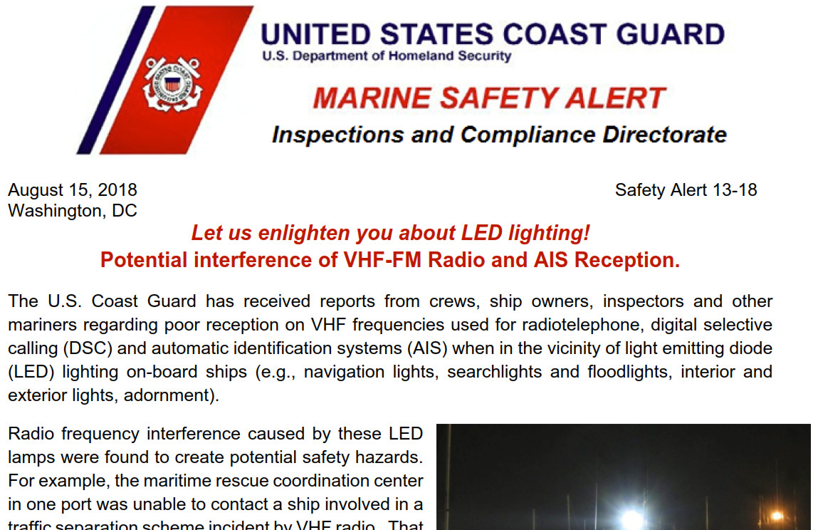 USCG warns about LED lights interfering with VHF & AIS, wants test