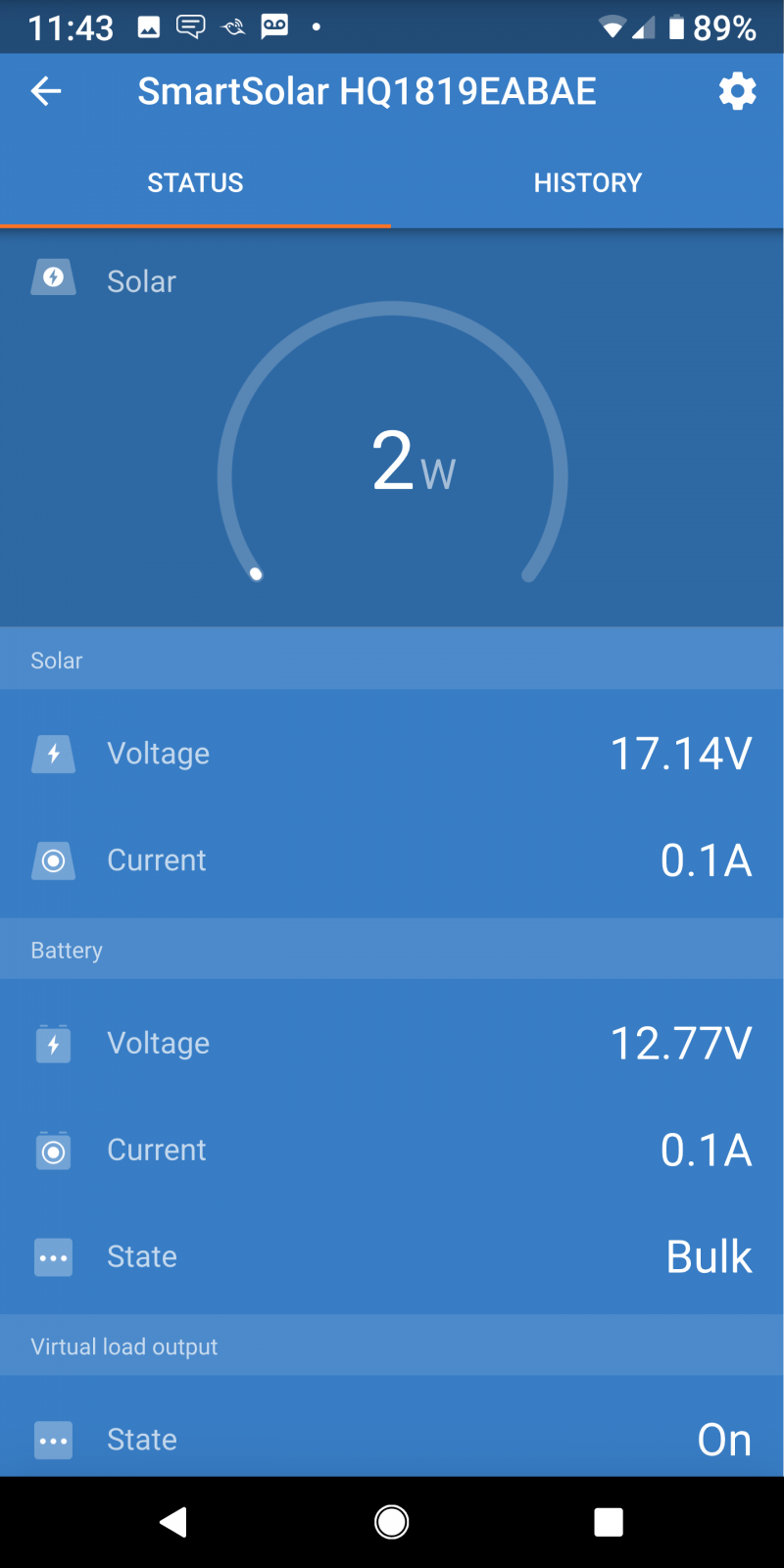 Victron Connect SmartSolar Status on Android phone