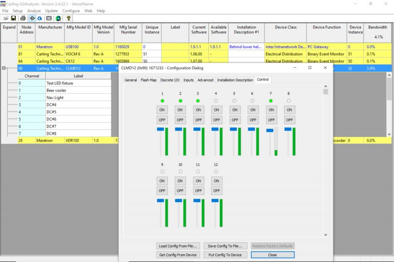 MPower CLMD12 test control page