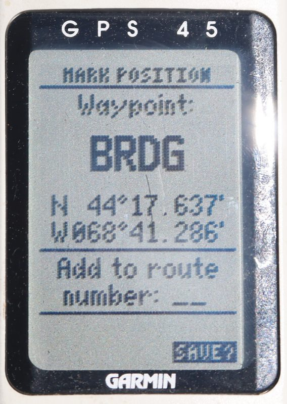 Garmin 45 Mark Position on Deer Isle bridge