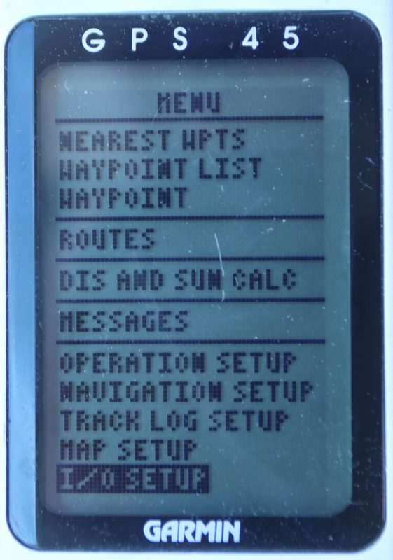 Garmin 45 Menu page with NMEA 0183 I/O settings