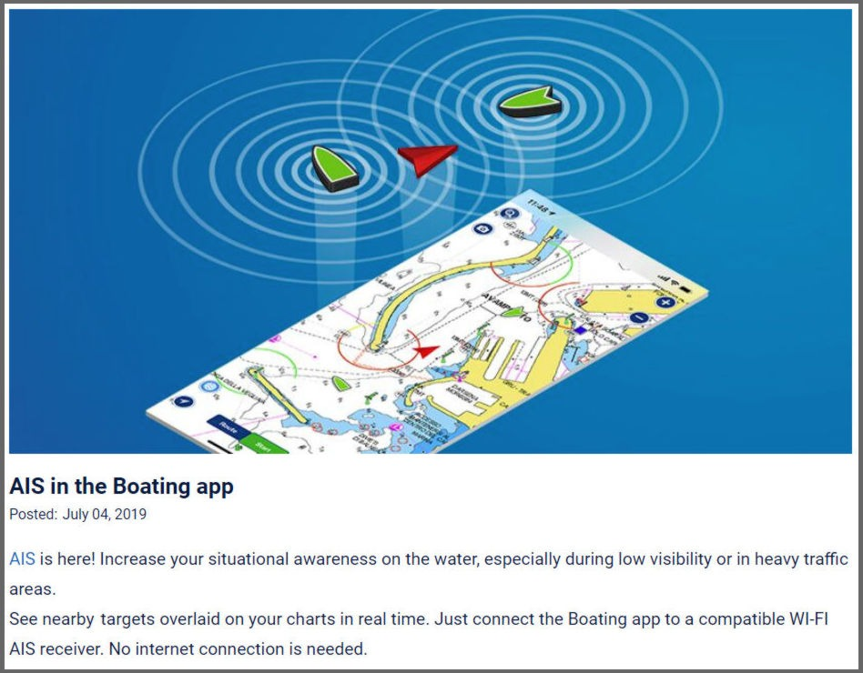 Navionics Boating app AIS feature, great idea but    - Panbo