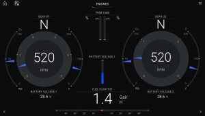 Engine data displayed on a Raymarine Axiom Pro 16