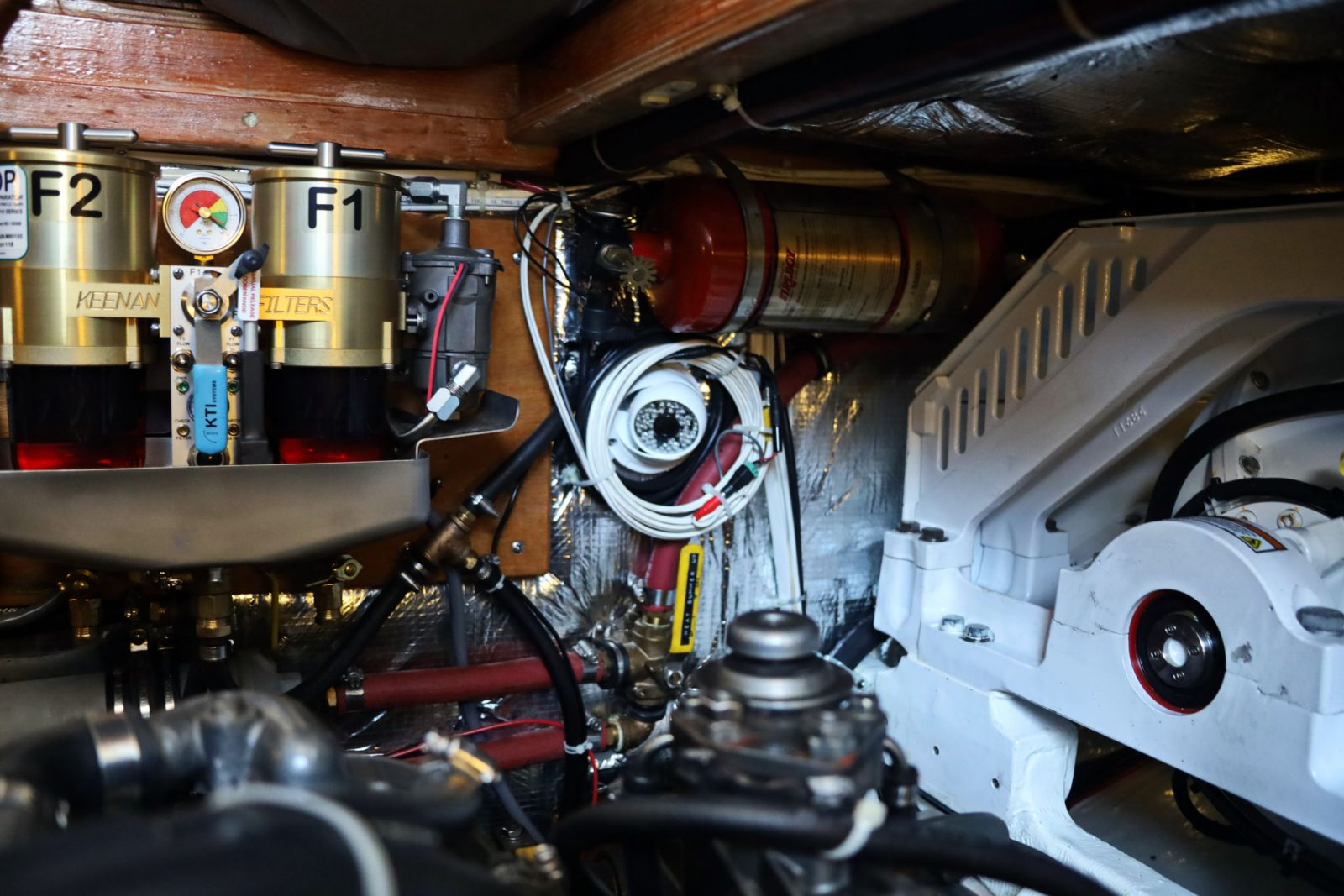 Bliss engine room detail in early July 2019