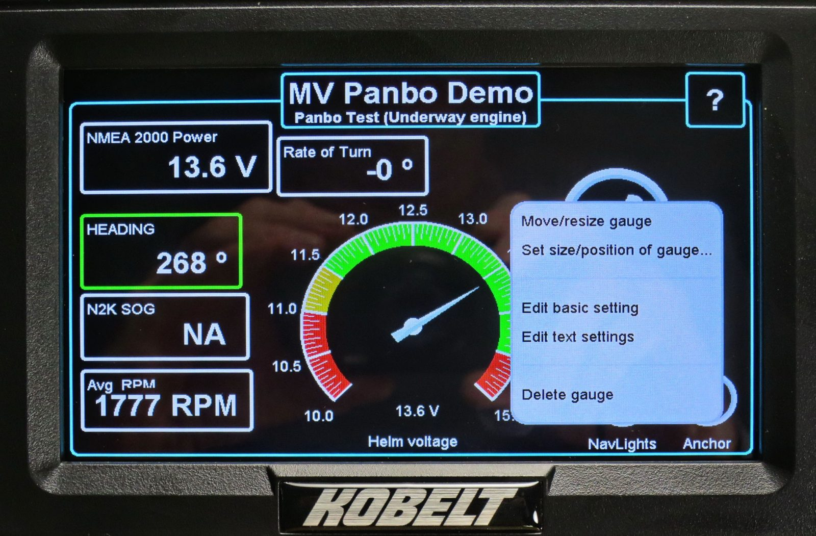 Panbo Test panel also showing touch gauge editing