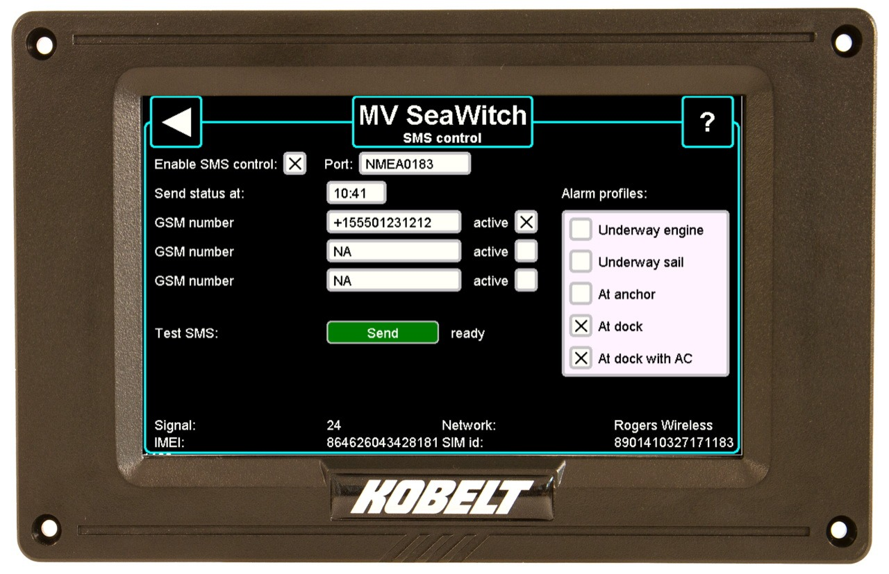 Mockup of recently added Vitals offboat SMS module