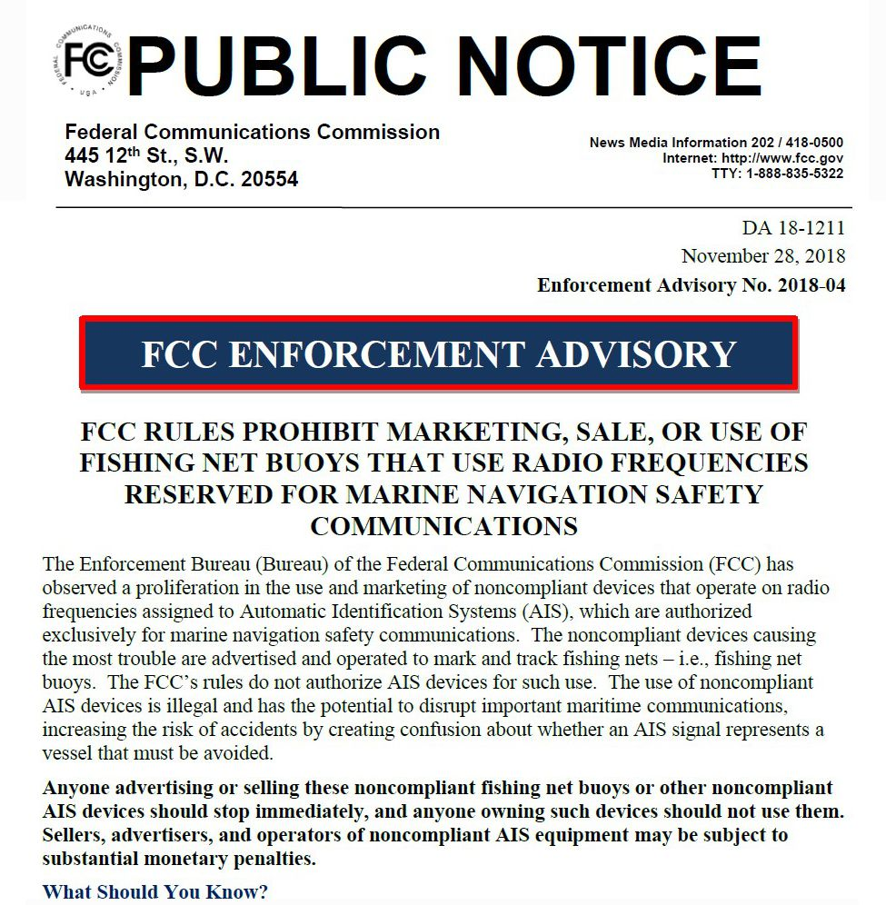 The FCC got serious about illegal AIS fishing net buoys in late 2018