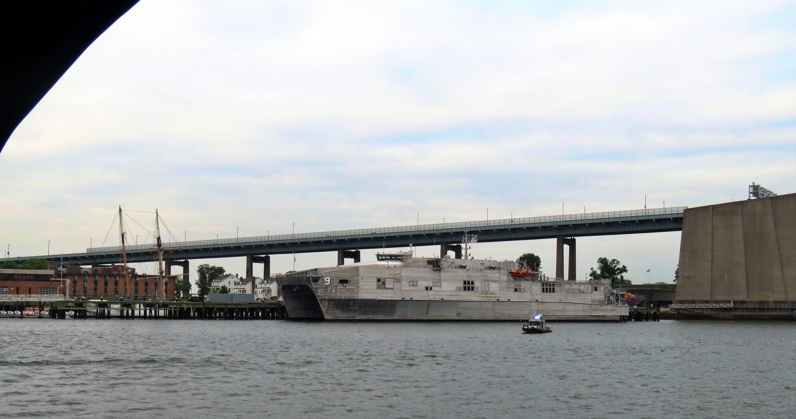 Guarded Navy vessel at SUNY Maritime, Throgs Neck, 5-29-2018