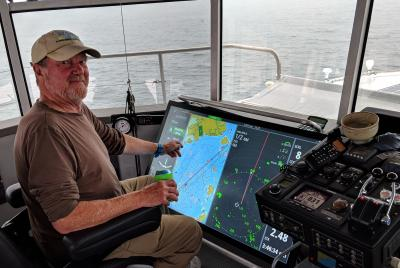 Touch navigating Maine fog aboard FPB Cochise cPanbo